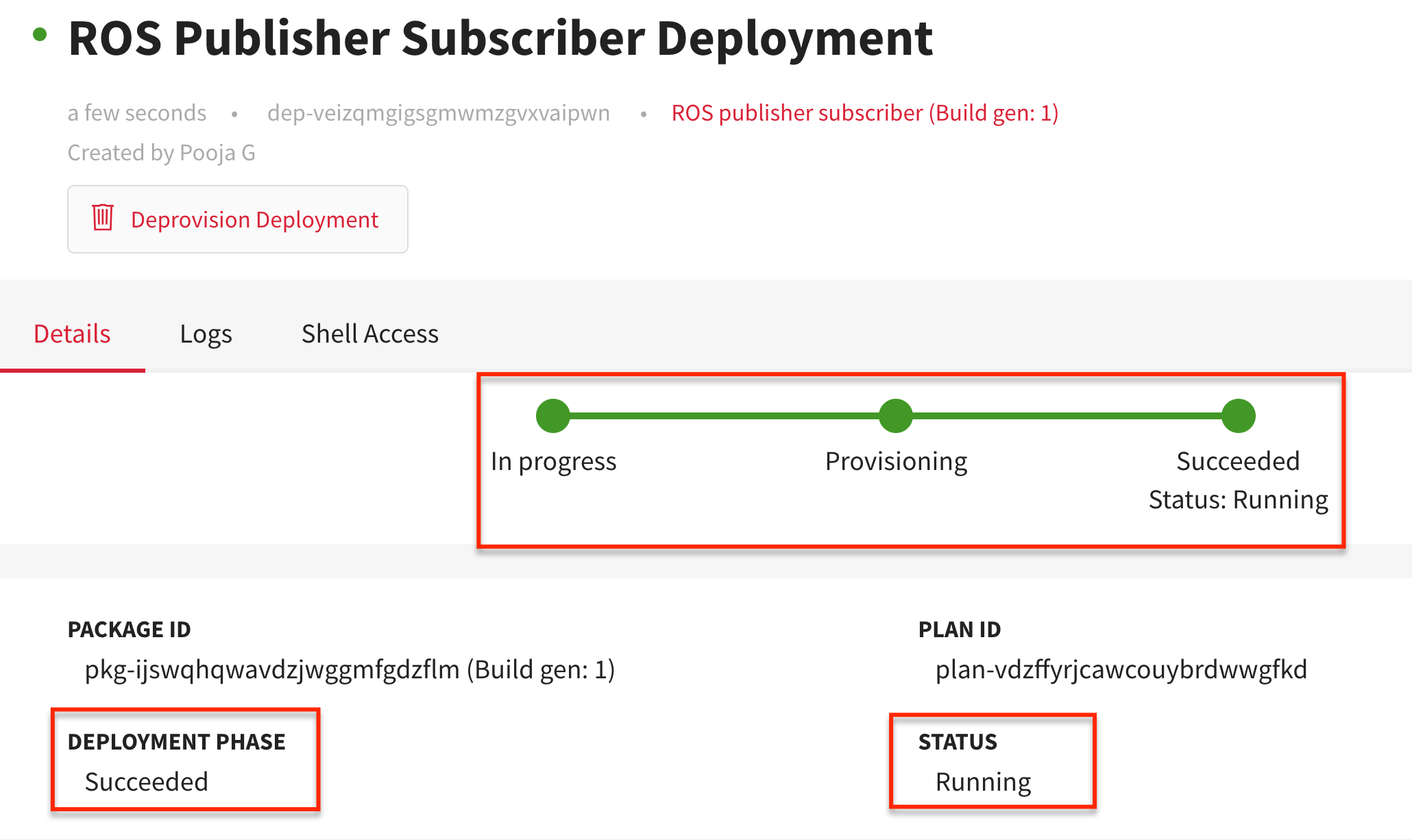 ROS  Publisher Subscriber Deployment